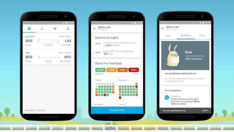 Imagen de un celular mostrando las diferentes pestañas de la app