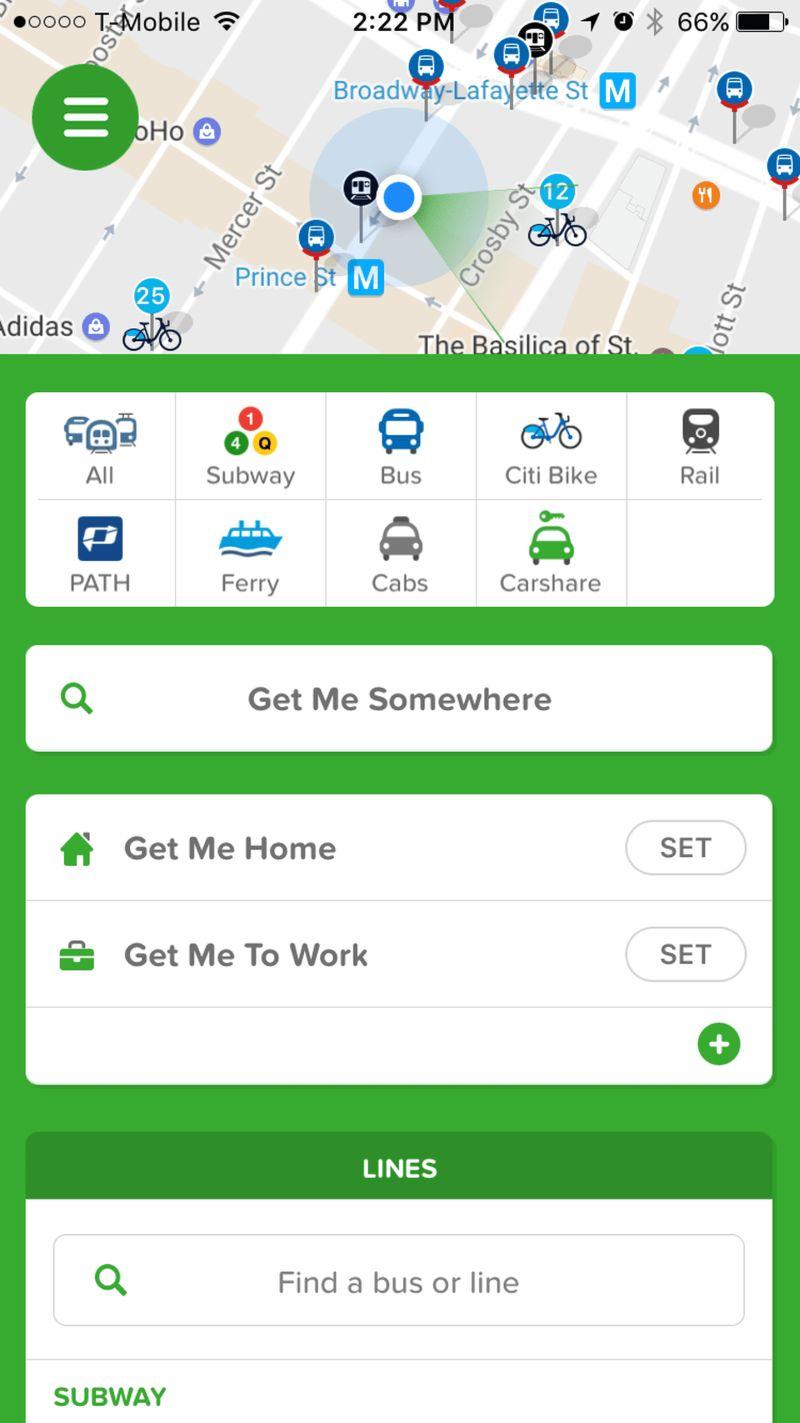 Imagen de un celular mostrando los diferentes lugares