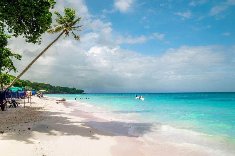 Playa con lugares donde reposar y arboles y palmeras